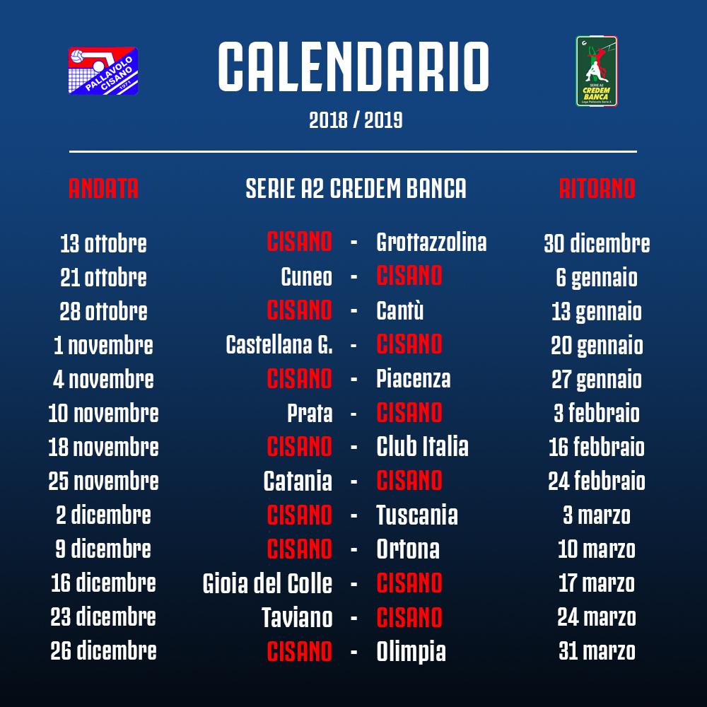 Calendario Serie A 16 Ottobre.Calendario Serie A2 2018 19 Pallavolo Cisano
